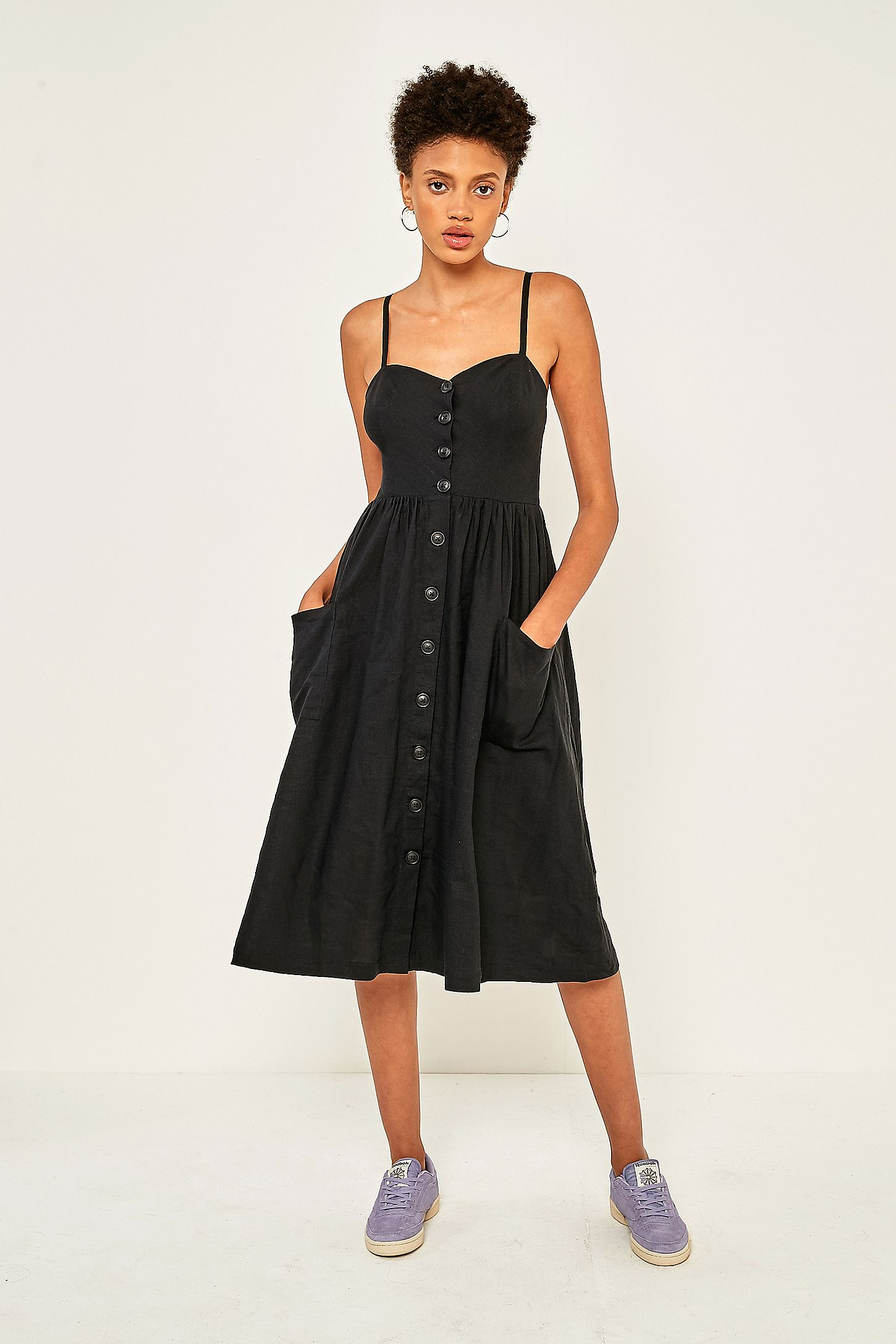 bb4ec789a74 Urban Outfitters Emilia Black Linen Button-Through Midi Dress ...