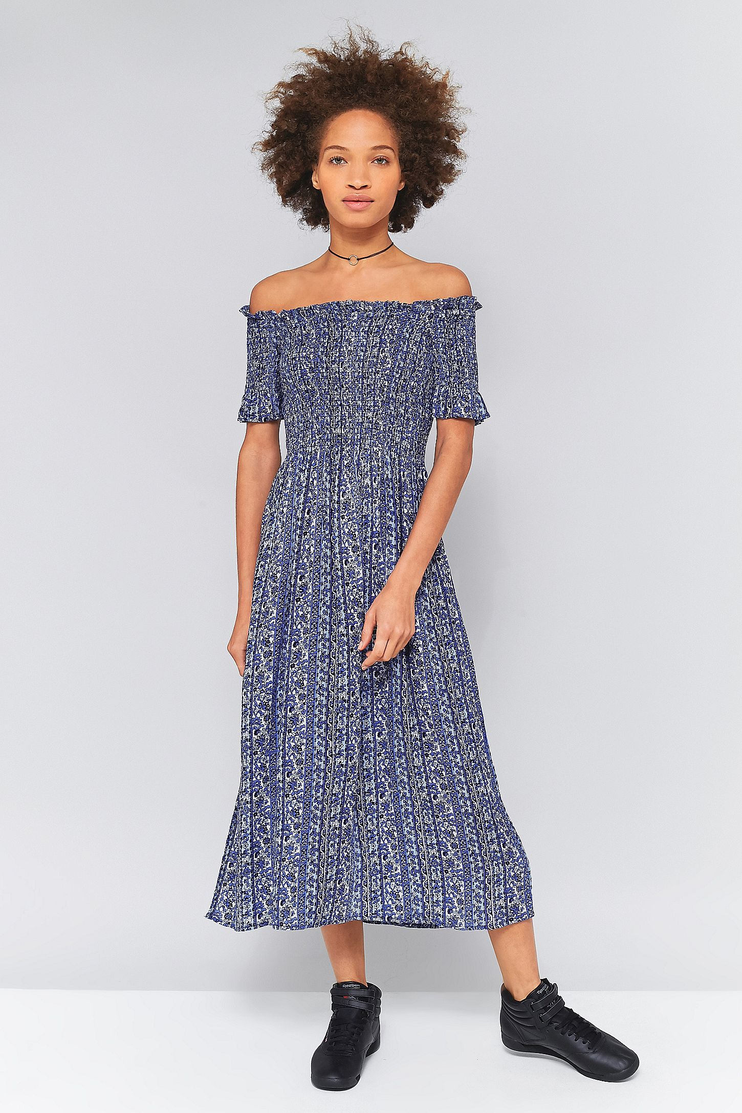 66ad7b72dde1 Kimchi Blue Picnic Blue Floral Smocked Off-The-Shoulder Midi Dress. Click  on image to zoom. Hover to zoom. Double Tap to Zoom