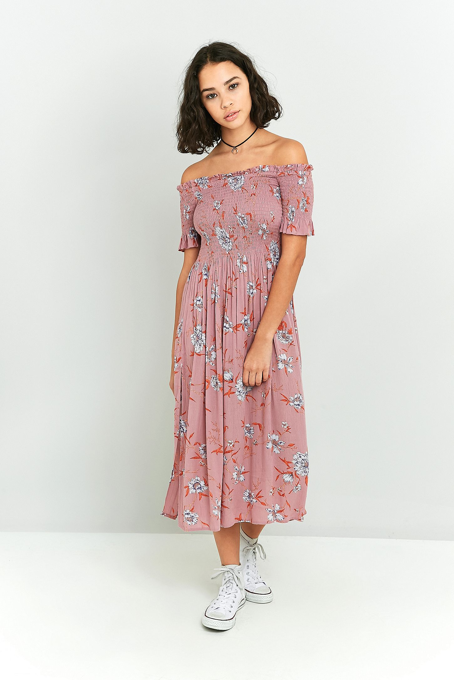 7a8b4ffb9103 Kimchi Blue Picnic Floral Off-The-Shoulder Midi Dress. Click on image to  zoom. Hover to zoom. Double Tap to Zoom