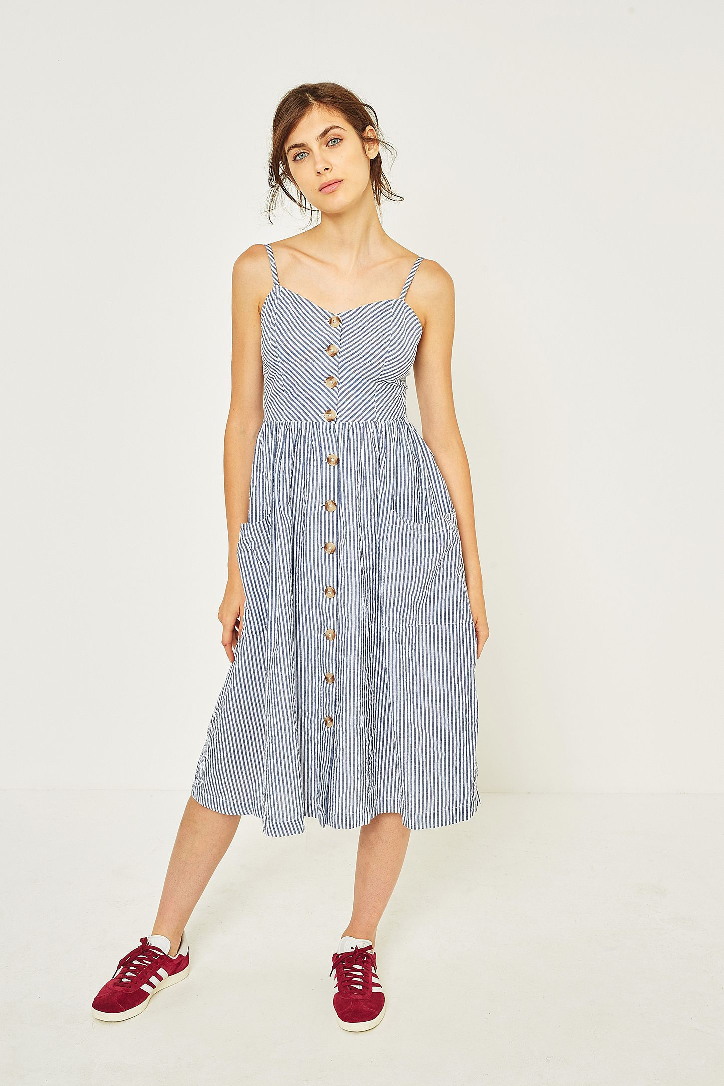 e9da4d4872 Kimchi Blue Emilia Seersucker Linen Button-Down Midi Dress. Click on image  to zoom. Hover to zoom. Double Tap to Zoom
