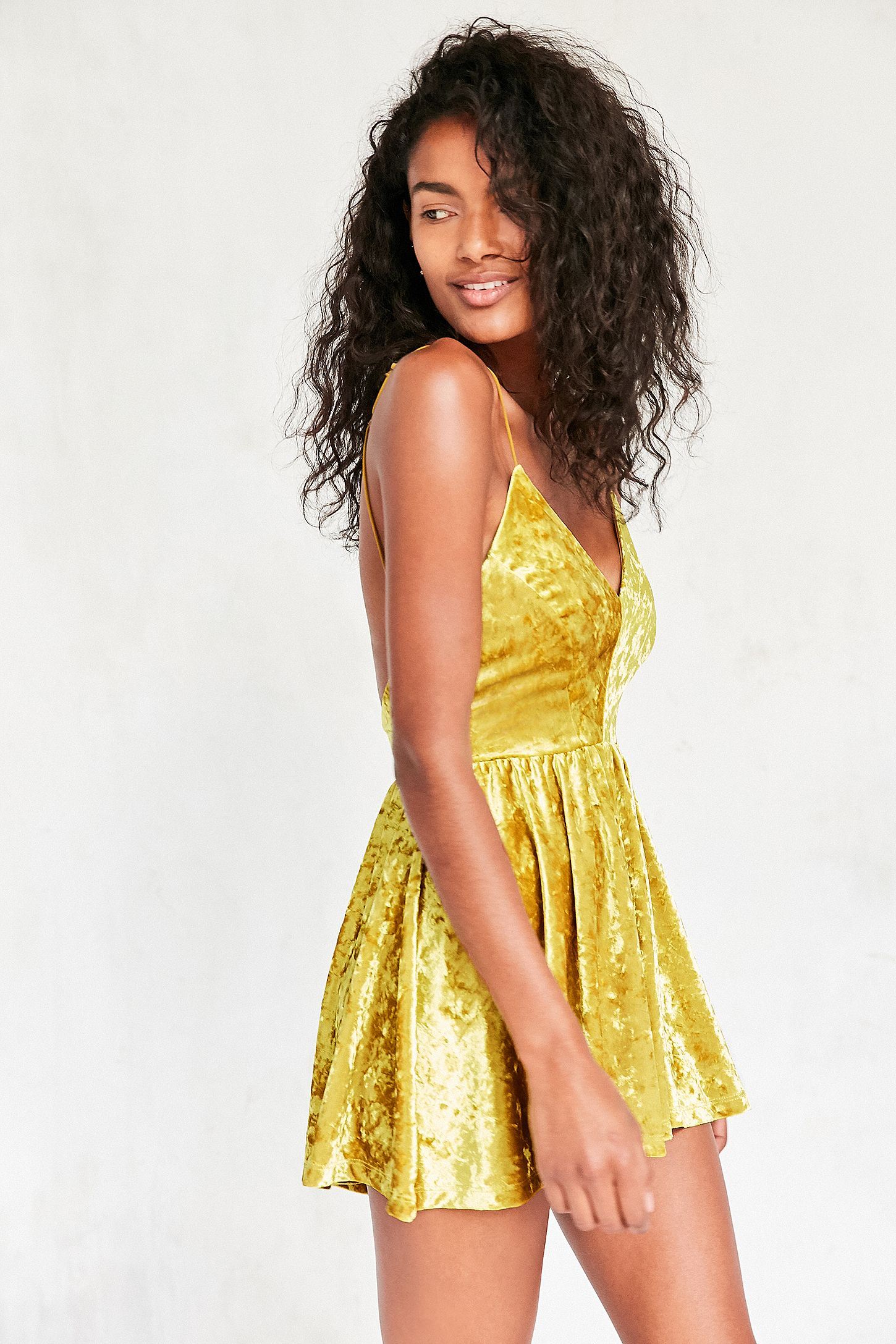 e336d489663 Silence + Noise Vanessa Crushed Bright Yellow Velvet Fit and Flare Playsuit.  Click on image to zoom. Hover to zoom. Double Tap to Zoom