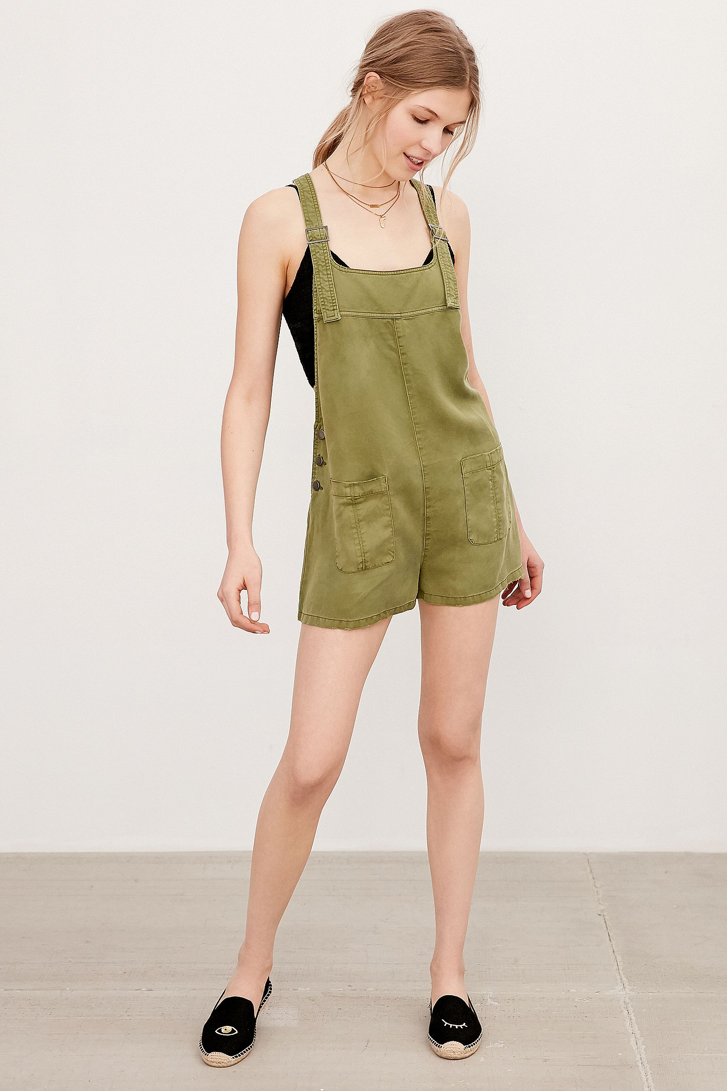 985ef12245 BDG Nicki Dungarees Khaki Playsuit. Click on image to zoom. Hover to zoom.  Double Tap to Zoom