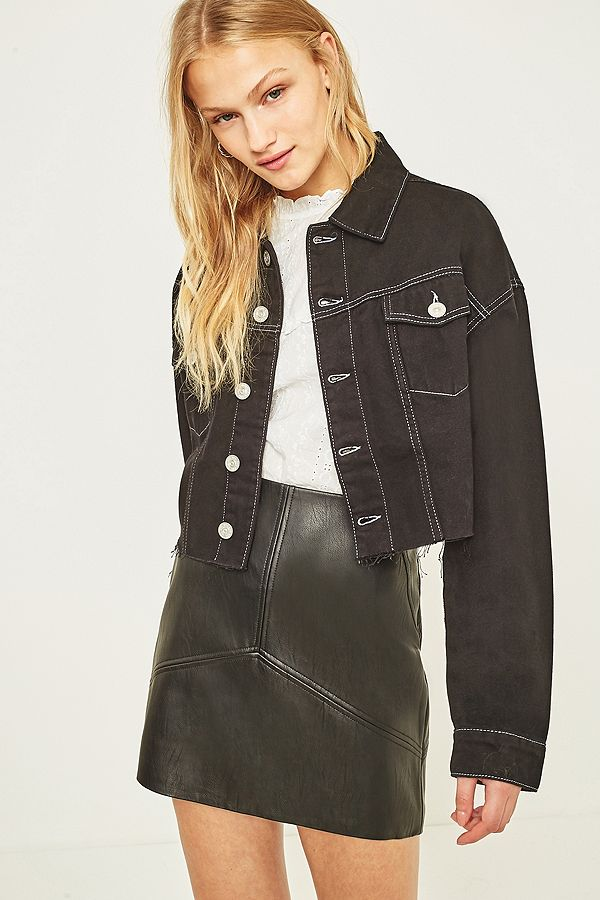 1f47638a00db BDG Contrast Stitch Cropped Denim Jacket | Urban Outfitters UK