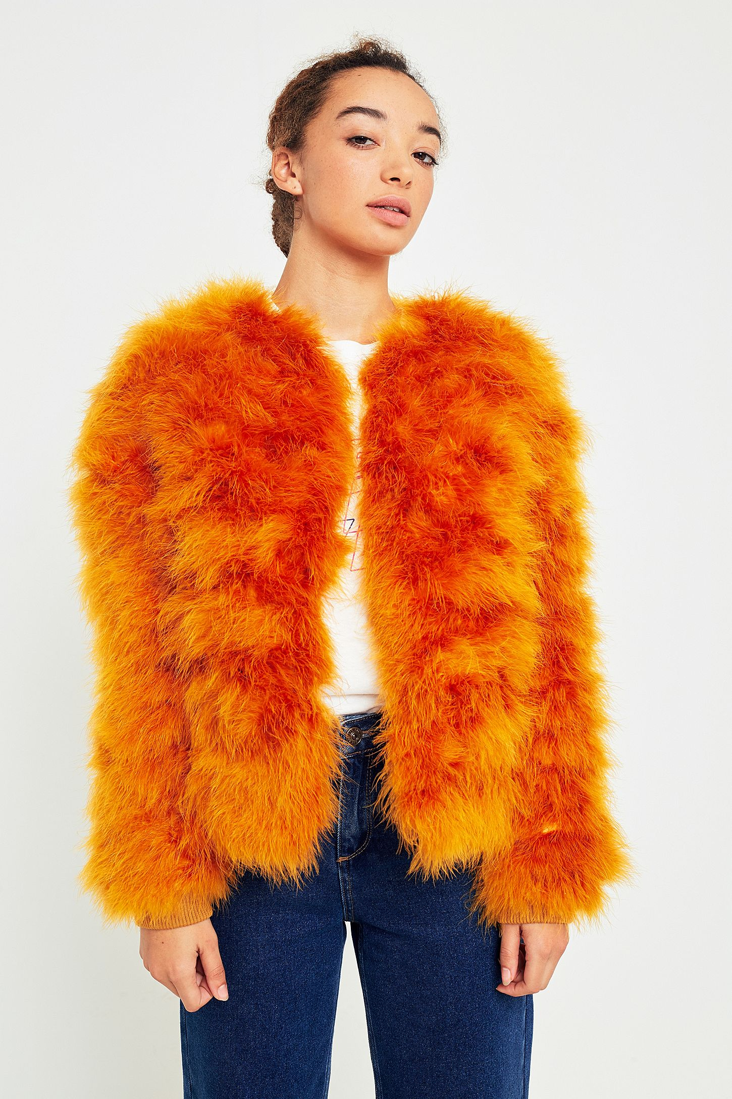 2b164f5e2faa Light Before Dark Orange Marabou Faux Fur Jacket