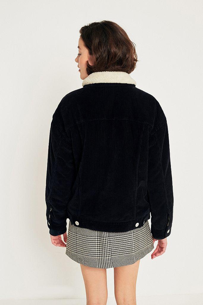 BDG Western Borg Lined Black Corduroy Jacket