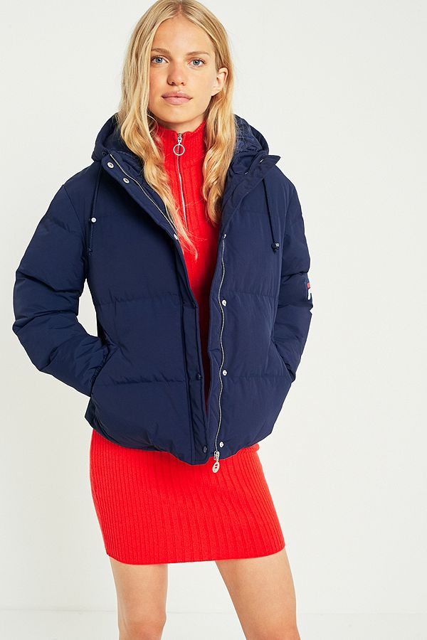 factory authentic sale uk closer at FILA Navy Puffer Jacket | Urban Outfitters UK