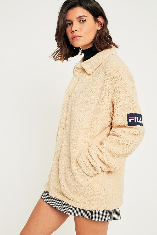 We Teddy Jas.Fila Cream Button Down Teddy Coat Urban Outfitters Uk