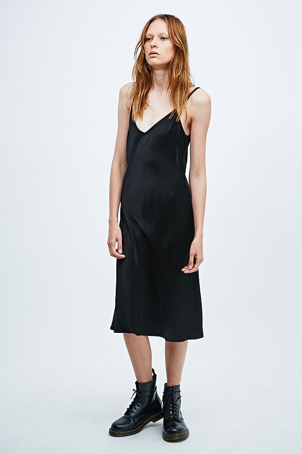 48924f06c70 Ghost Winnie Midi Satin Slip Dress in Black