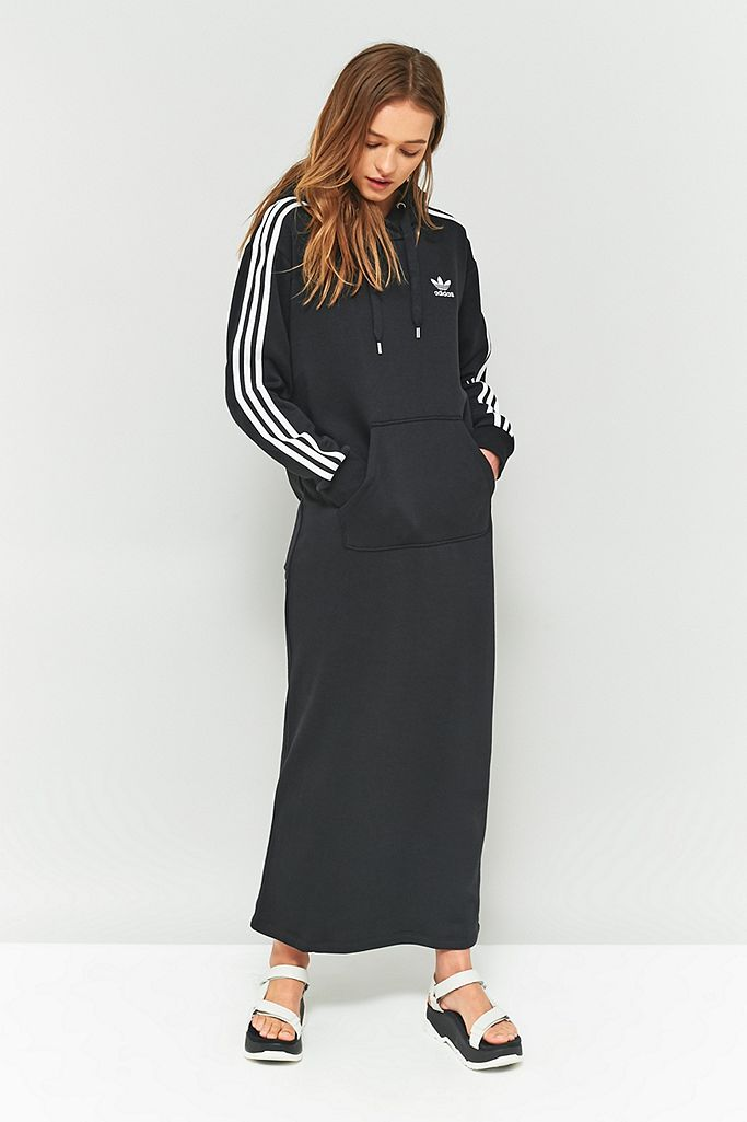 Reino Estudiante Sensible  adidas Originals 3-Stripe Hoodie Maxi Dress | Urban Outfitters UK