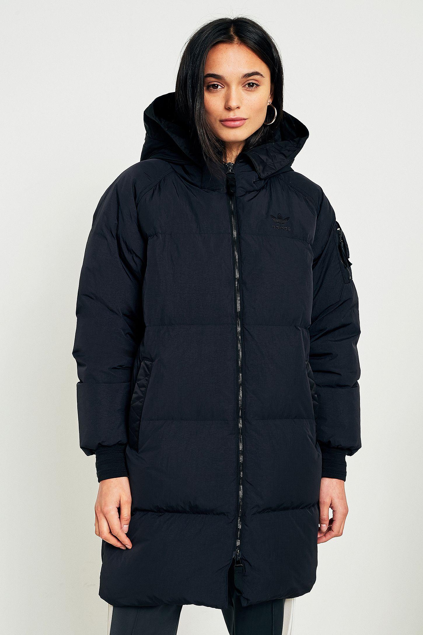 5d22b8c4b423 adidas Originals Black Long Puffer Jacket
