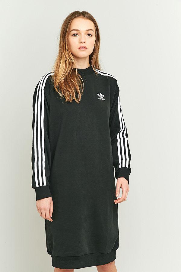 3b9934cb adidas Originals 3-Stripe Black Midi Dress | Urban Outfitters UK
