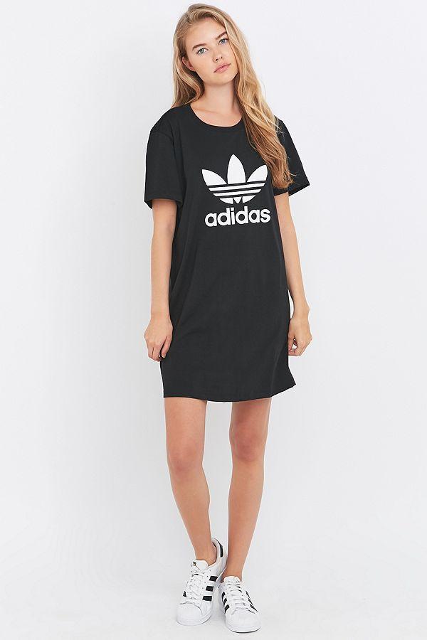 14077255bf02d adidas Originals Black Trefoil T-shirt Dress   Urban Outfitters UK