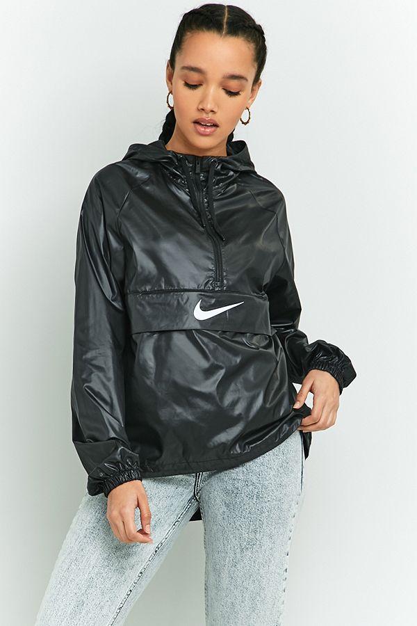 wholesale online uk store wholesale dealer Nike Swoosh Black Half-Zip Windbreaker