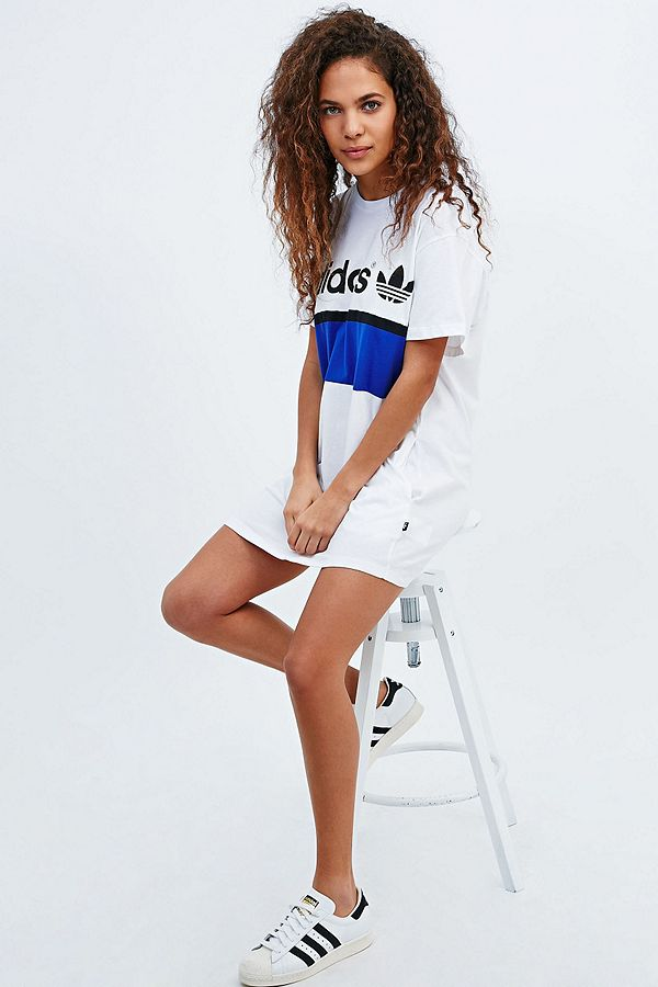 adidas City Tee Dress in White | Urban Outfitters UK