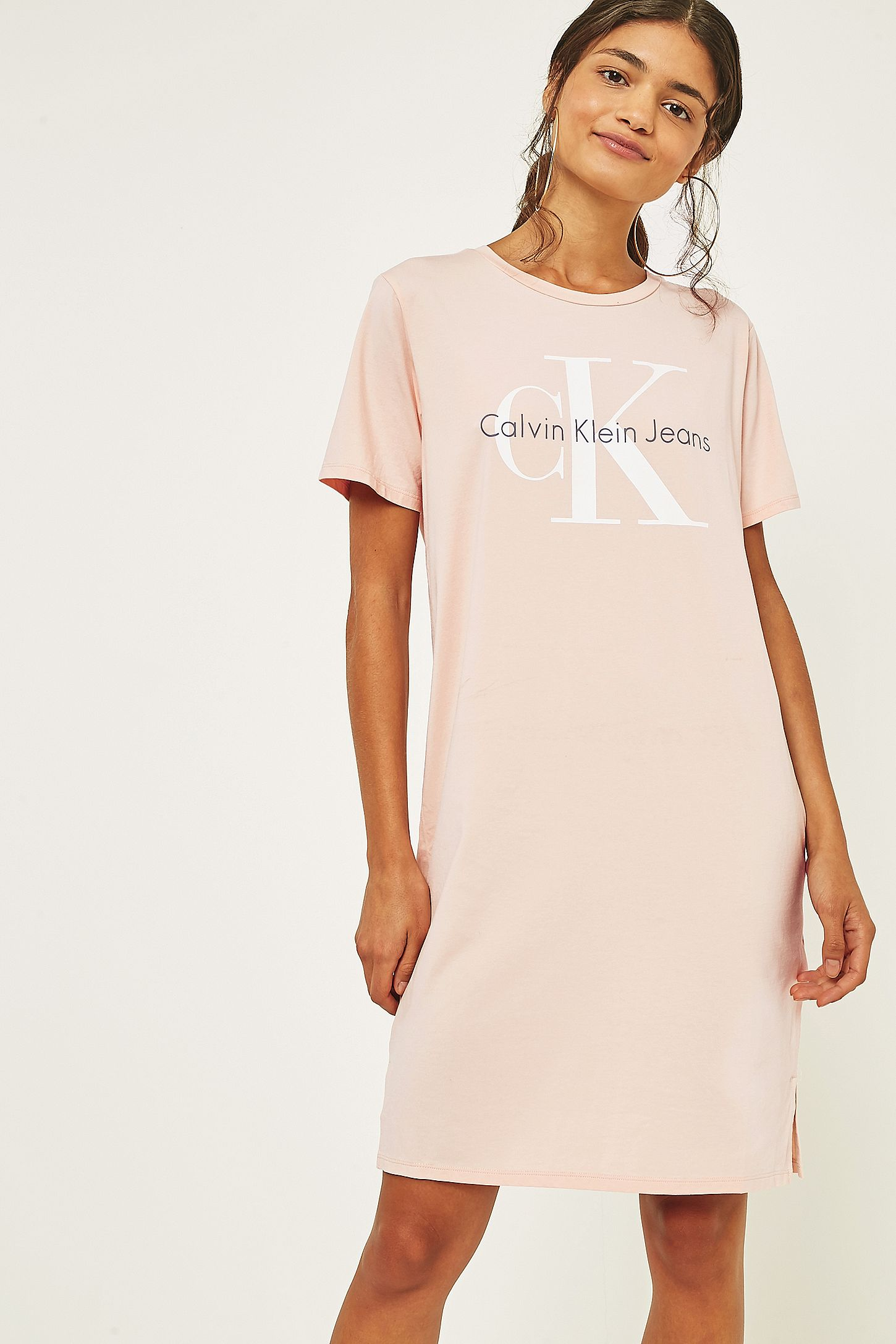 52ce6d076d5 Calvin Klein Pink Logo T-Shirt Dress