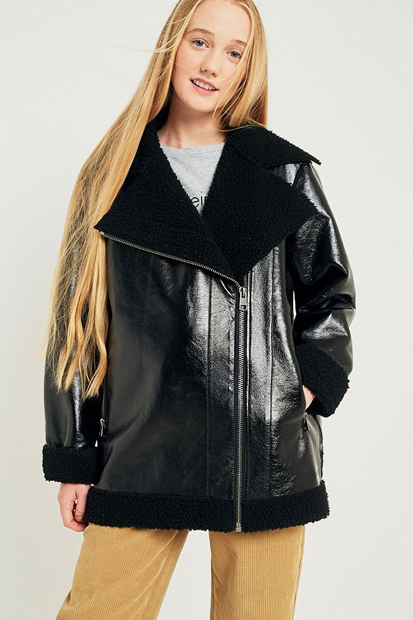 7688ba413c30 Calvin Klein Coated Faux Shearling Jacket | Urban Outfitters UK