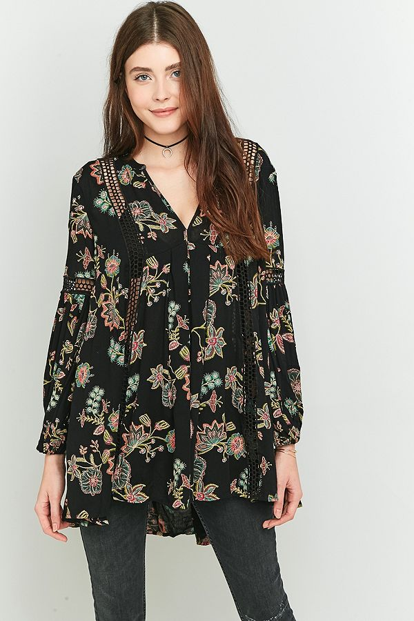 b5fa27f7c49 Free People Just the Two of Us Floral Black Tunic Top   Urban ...