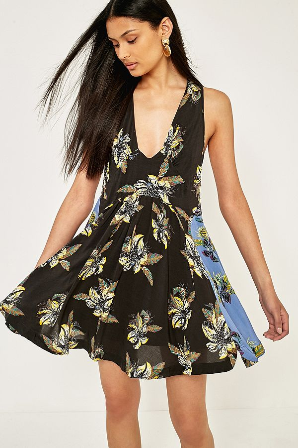 4a4e67a5c787 Free People Thought I Was Dreaming Black And Blue Floral Mini Dress ...