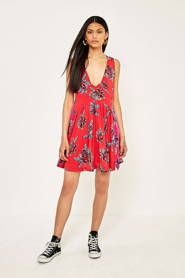 dee56d1261f2 Free People Thought I Was Dreaming Red And Pink Floral Mini Dress ...