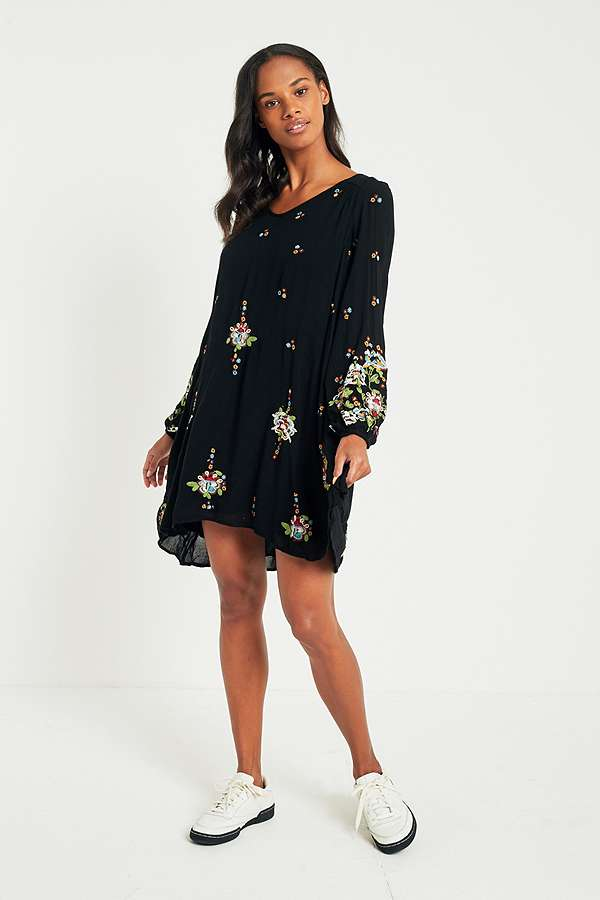 d52bff4fc81a Free People Oxford Floral Embroidered Mini Dress | Urban Outfitters UK