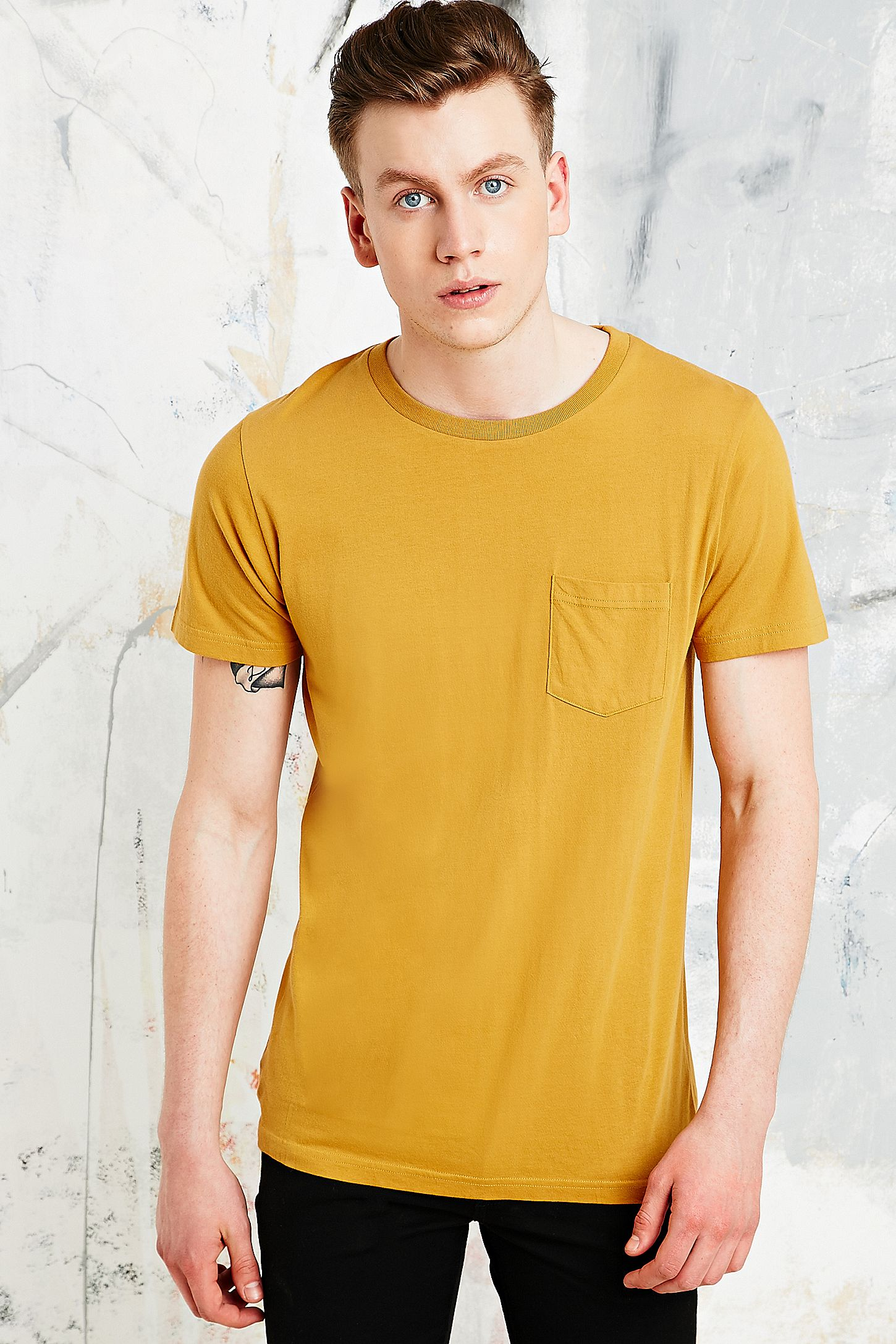 3d203ced4 Commodity Stock Pocket Tee In Mustard Yellow Urban Outfitters Uk