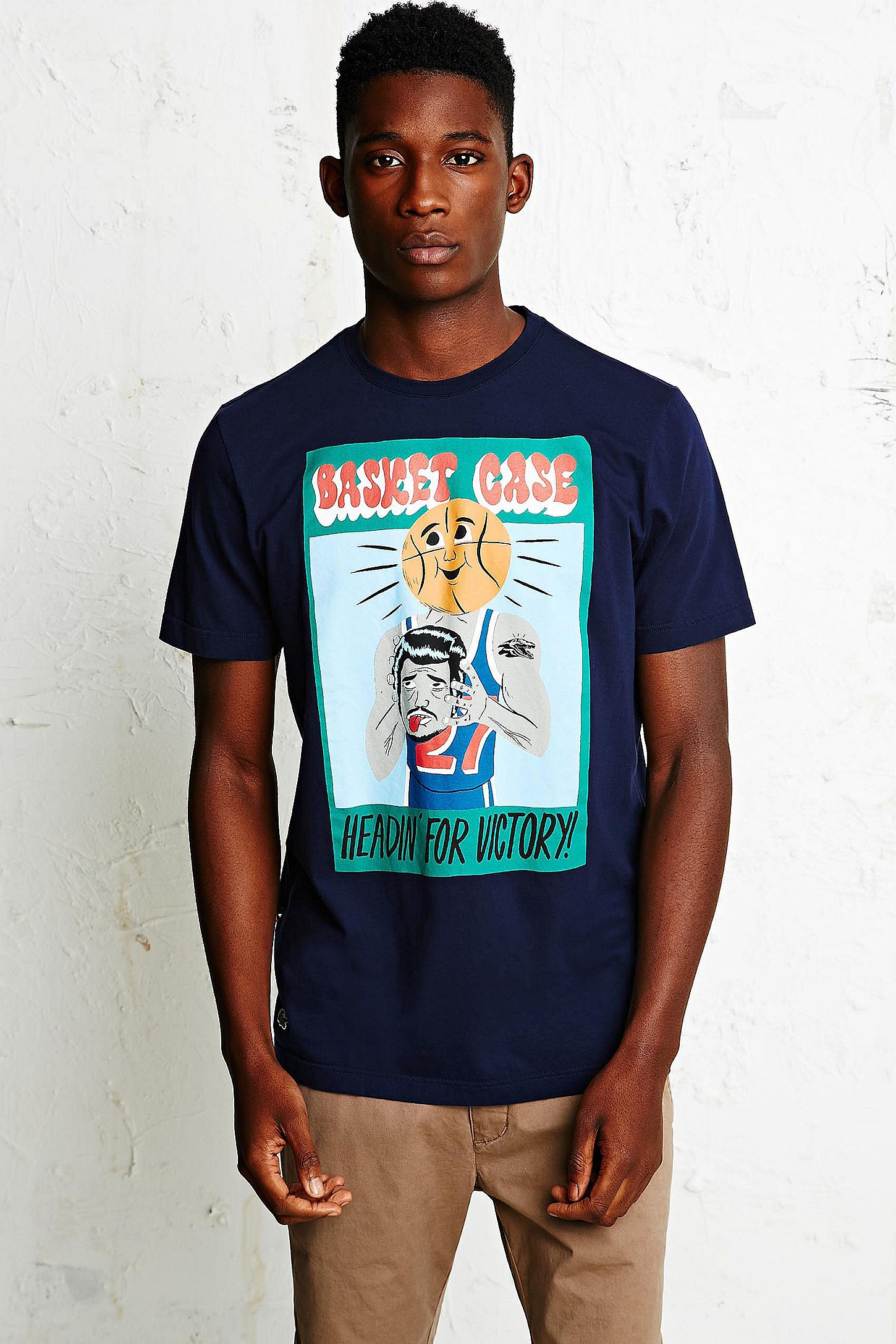 dbef5b3f11 Lacoste Live Basket Case Tee in Navy | Urban Outfitters UK