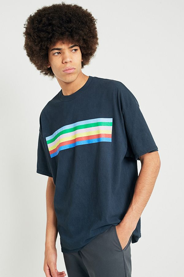 c38d691058 UO Rainbow Stripe Washed Black T-shirt | Urban Outfitters UK