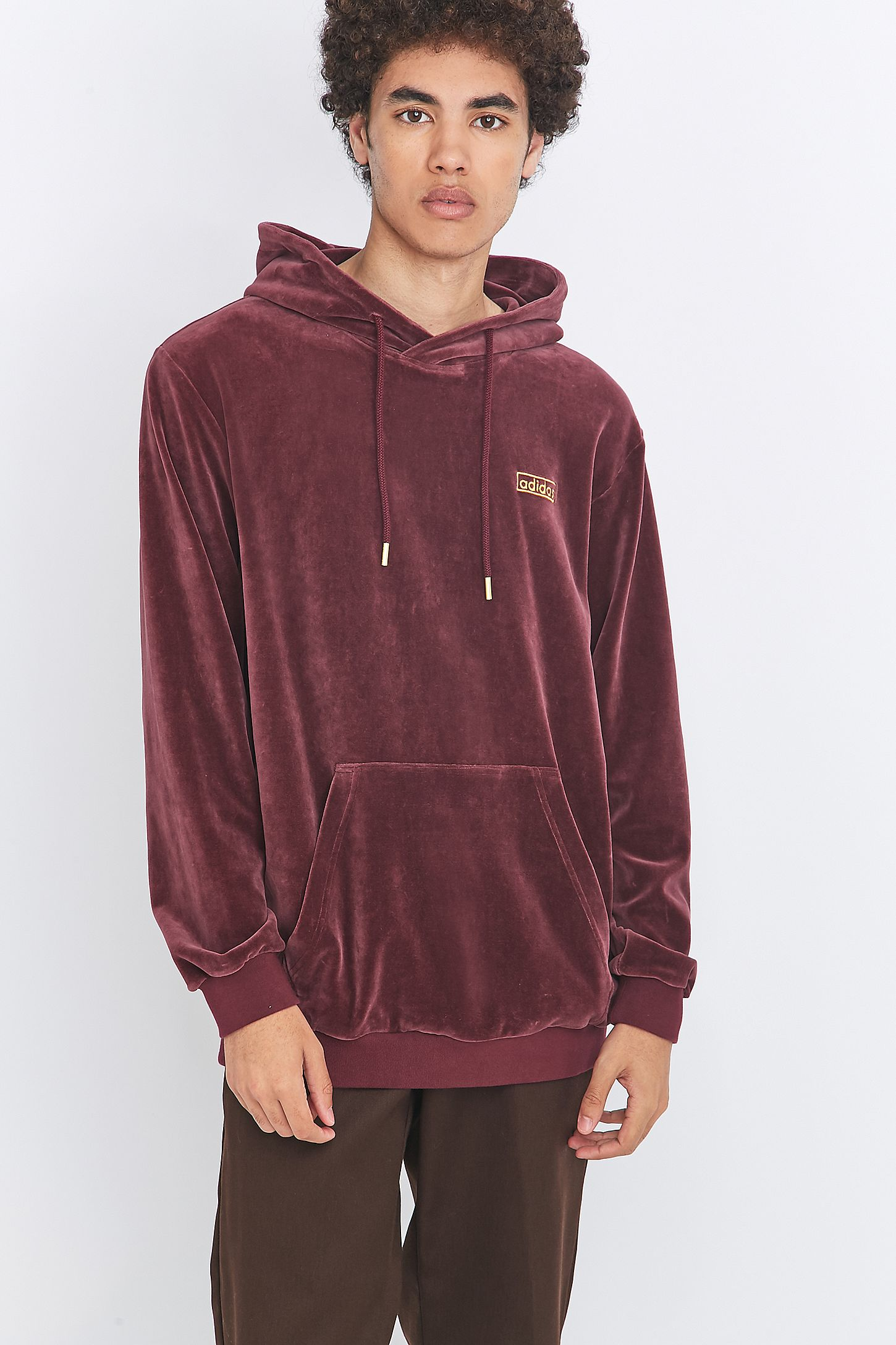 88896c0ef690 adidas Originals Maroon Velour Pullover Hoodie. Click on image to zoom.  Hover to zoom. Double Tap to Zoom