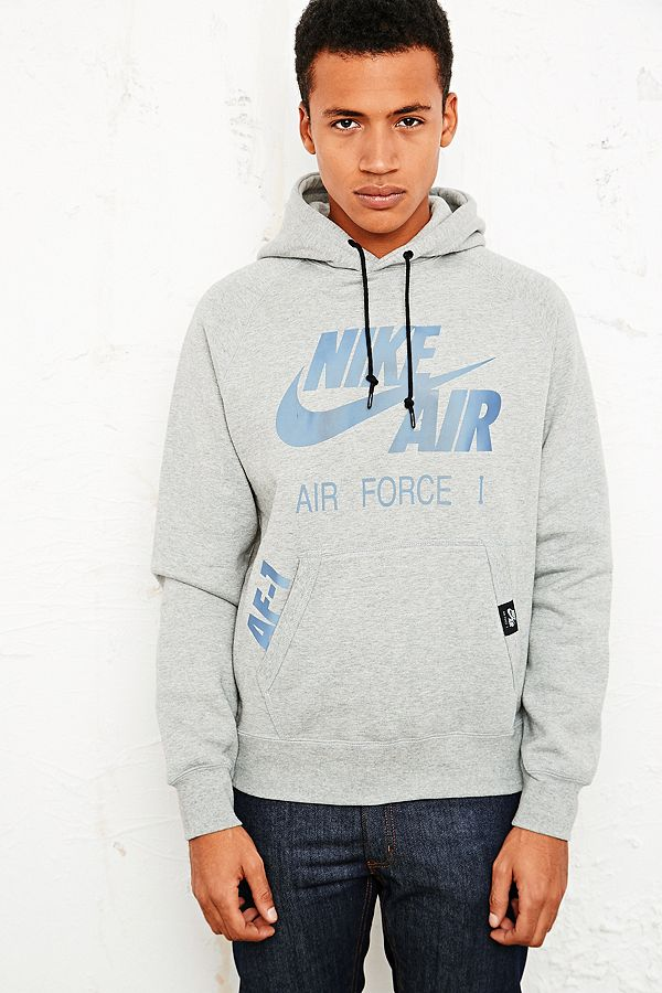 07536760 Nike Air Force 1 Hoodie in Grey | Urban Outfitters UK