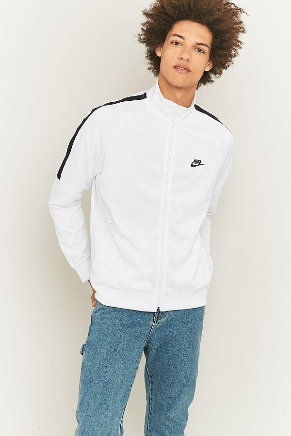 Nike Haut de survêtement blanc avec bandes contrastantes