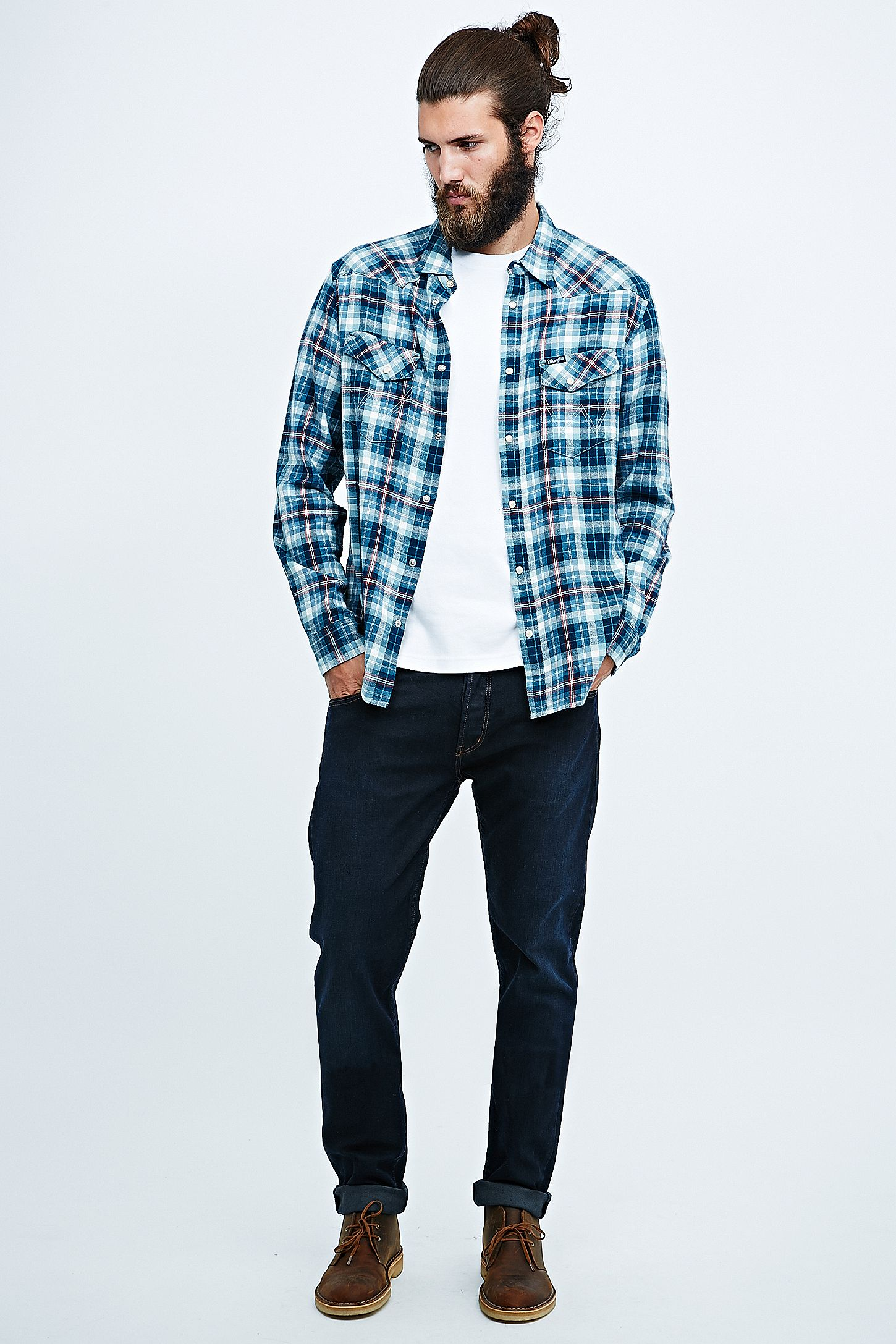 8a300f83 Wrangler Colton Hard Edge Tapered Jeans in Dark Denim. Click on image to  zoom. Hover to zoom. Double Tap to Zoom