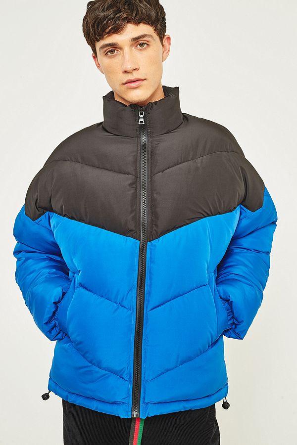 567251869572 Loom Blue and Black Chevron Puffer Jacket