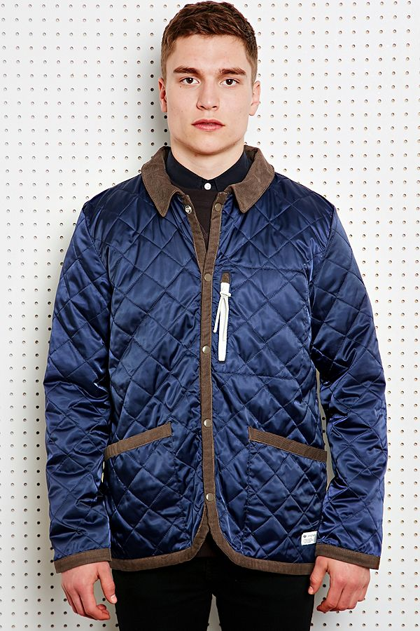 adidas Quilted Dog Keeper Jacket in Blue   Urban Outfitters UK