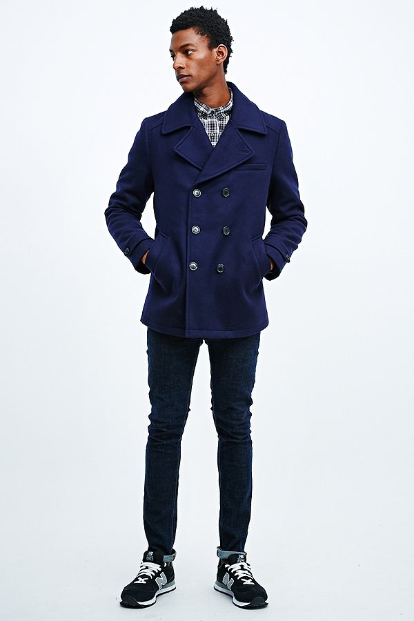 c2c62d52731 Selected Homme Mercer DB Pea Coat in Navy | Urban Outfitters UK