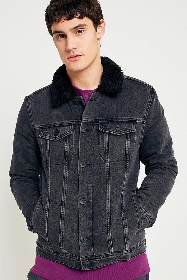 e4c53ac78b3cb BDG Washed Black Sherpa Denim Trucker Jacket | Urban Outfitters UK