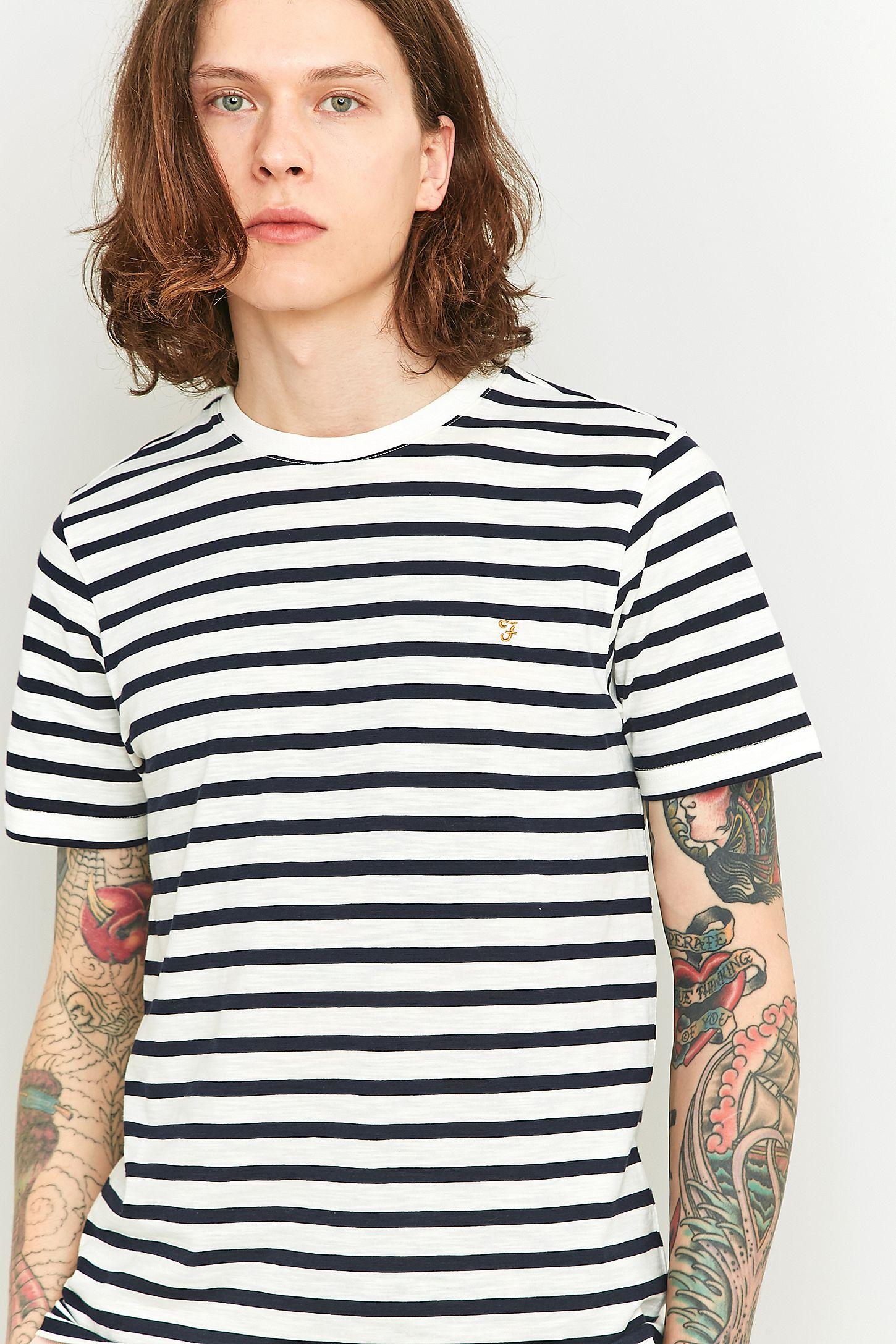 454db09d9a Farah Lennox Navy Striped Short Sleeve T-shirt | Urban Outfitters UK
