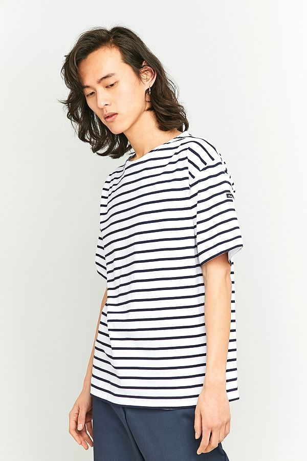 c2315861fc Armor Lux Classic White and Navy Striped T-shirt | Urban Outfitters UK
