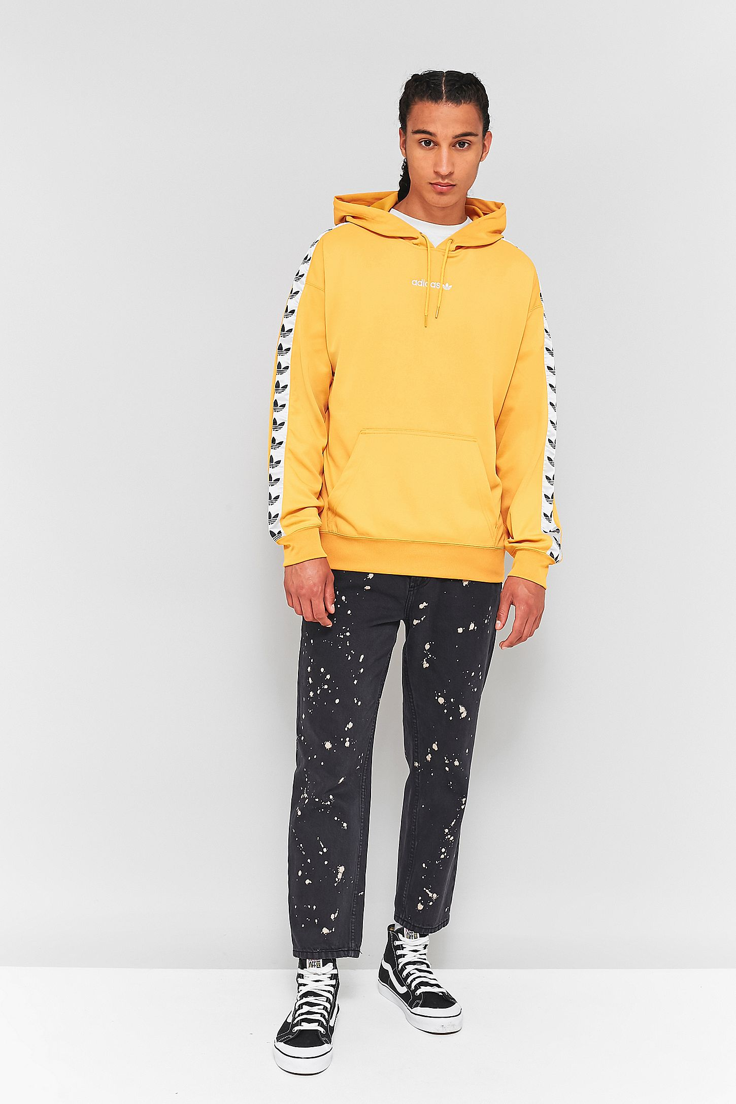 dca08966a6 adidas TNT Yellow and White Taped Hoodie