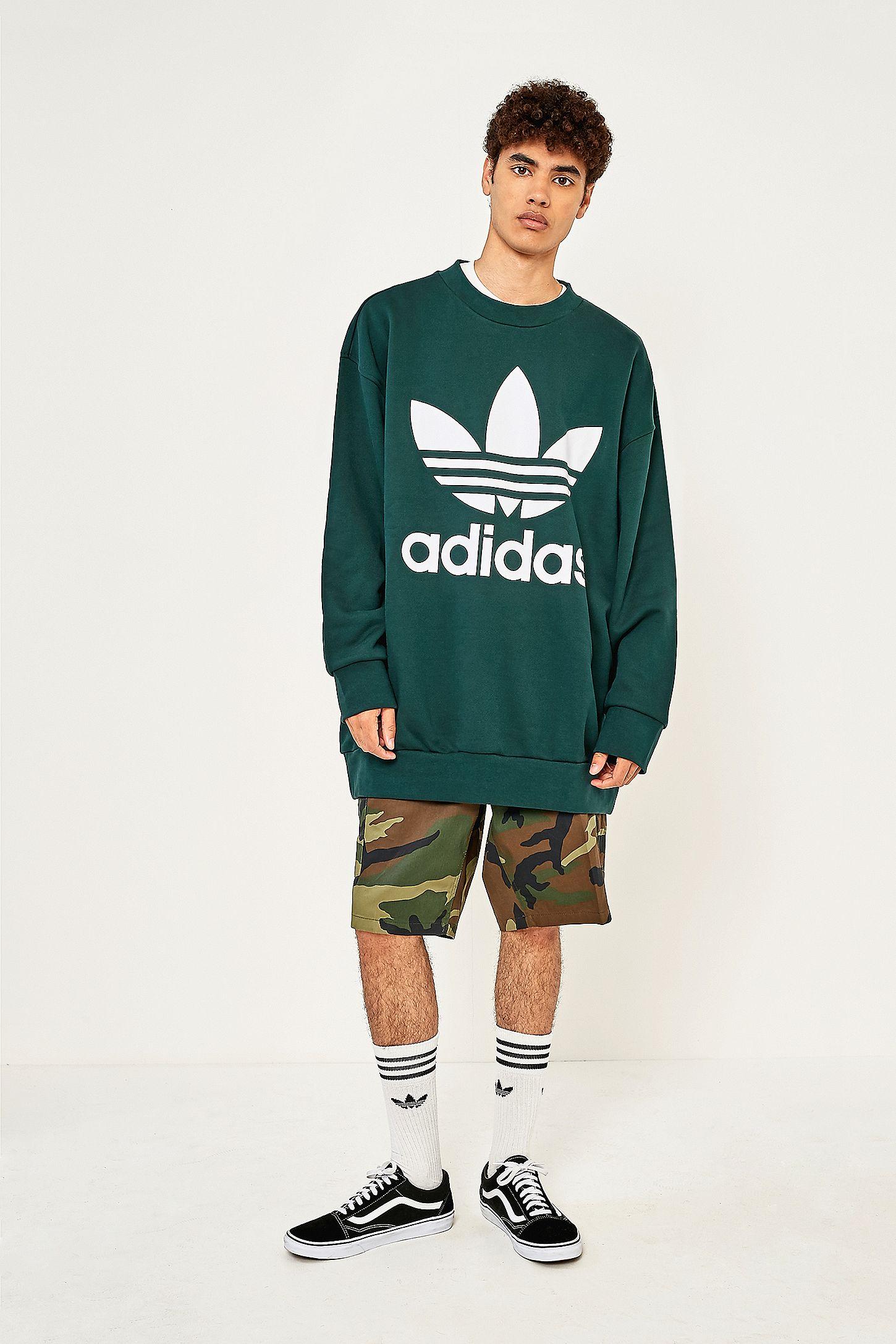 adidas Adicolor Oversized Green Night Crewneck Sweatshirt