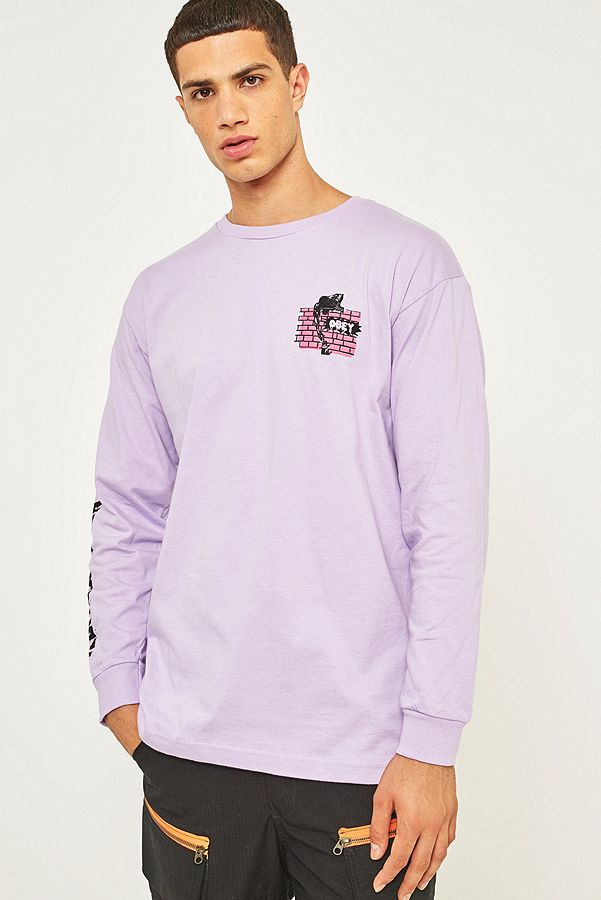 8bb667552829 OBEY People Attack Lavender Long-Sleeve T-shirt   Urban Outfitters UK