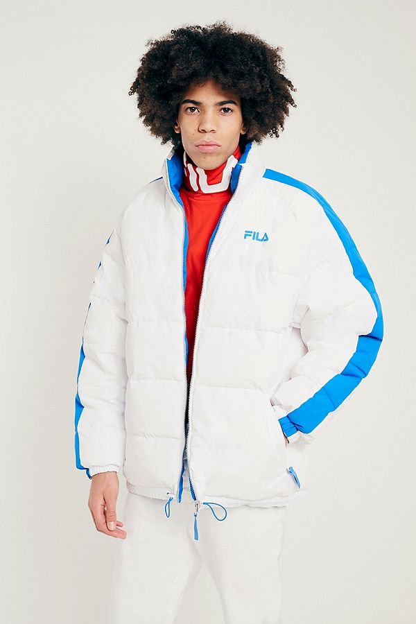best cheap cheap prices special for shoe FILA Blue and White Reversible Puffer Jacket | Urban Outfitters UK
