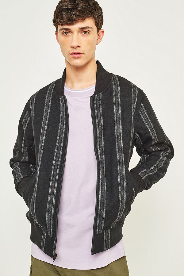70c575bae Stussy Wool Stripe Black Bomber Jacket
