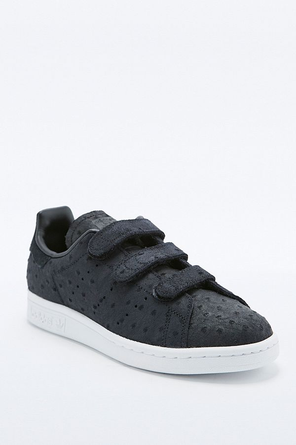 adidas Originals - Baskets Stan Smith noires texturées à velcro