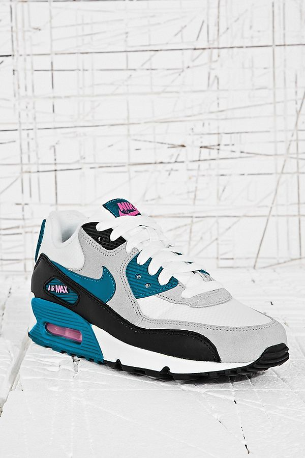 f9f44a4f1e Nike Air Max 90 Trainers in White and Teal | Urban Outfitters UK