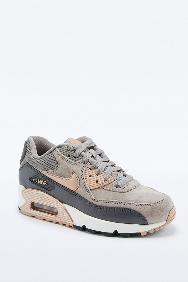 new concept de035 f028b Slide View: 1: Nike Air Max 90 Premium Grey and Bronze Leather Trainers