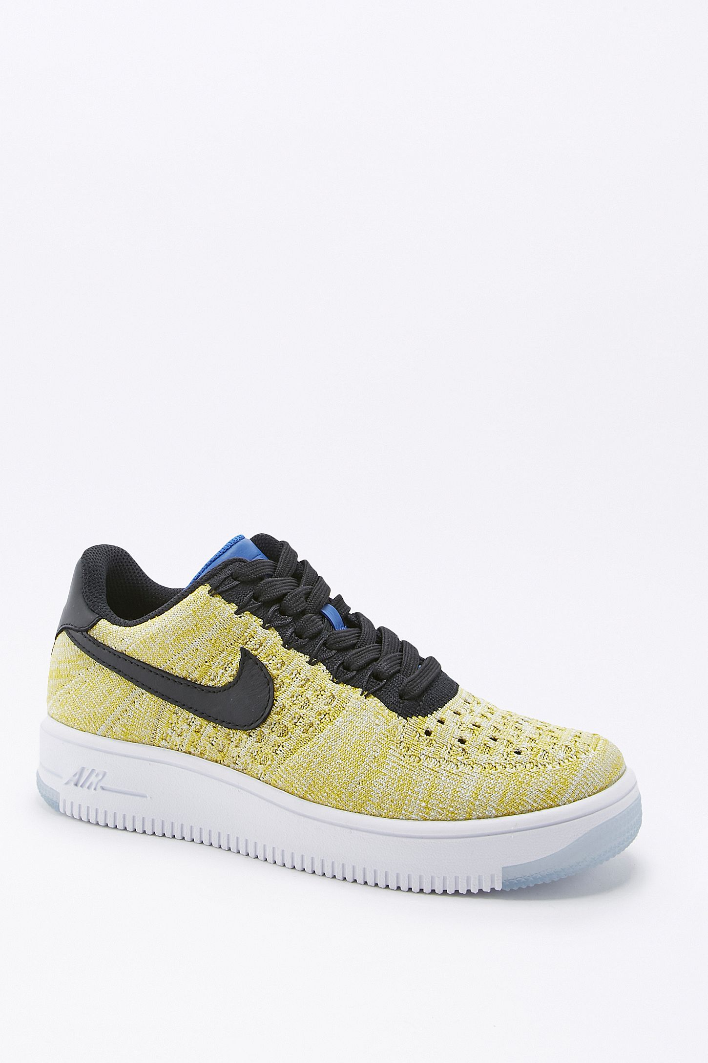promo code 9957a 8309e Nike Air Force 1 Flyknit Dark Yellow Trainers. Click on image to zoom.  Hover to zoom. Double Tap to Zoom