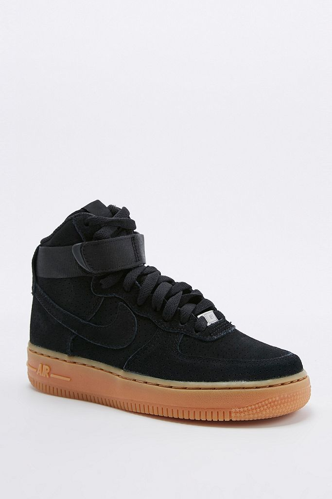 Nike Air Force 1 Hi Black Suede Trainers Urban Outfitters Uk