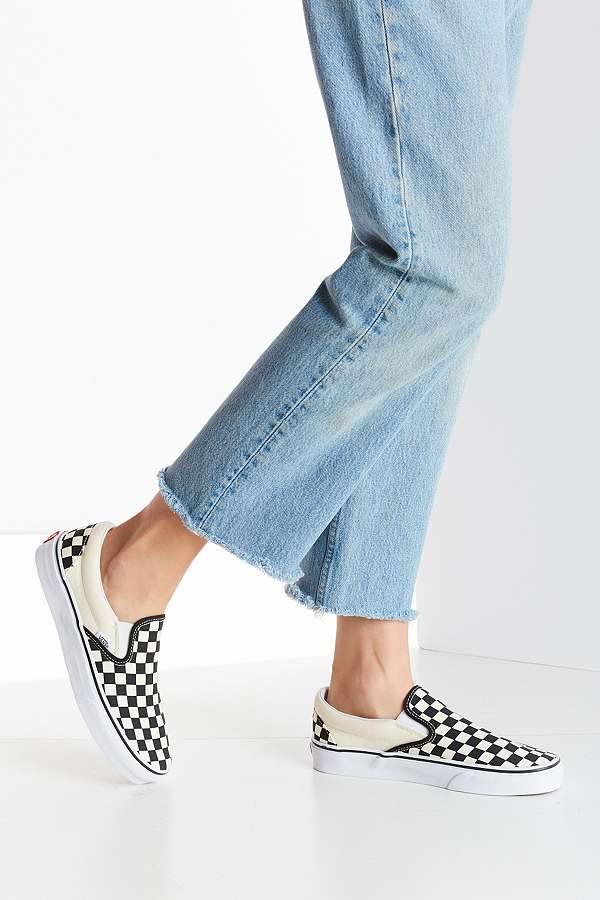 ab3242313f Vans Classic Black and Cream Checkerboard Slip-On Trainers