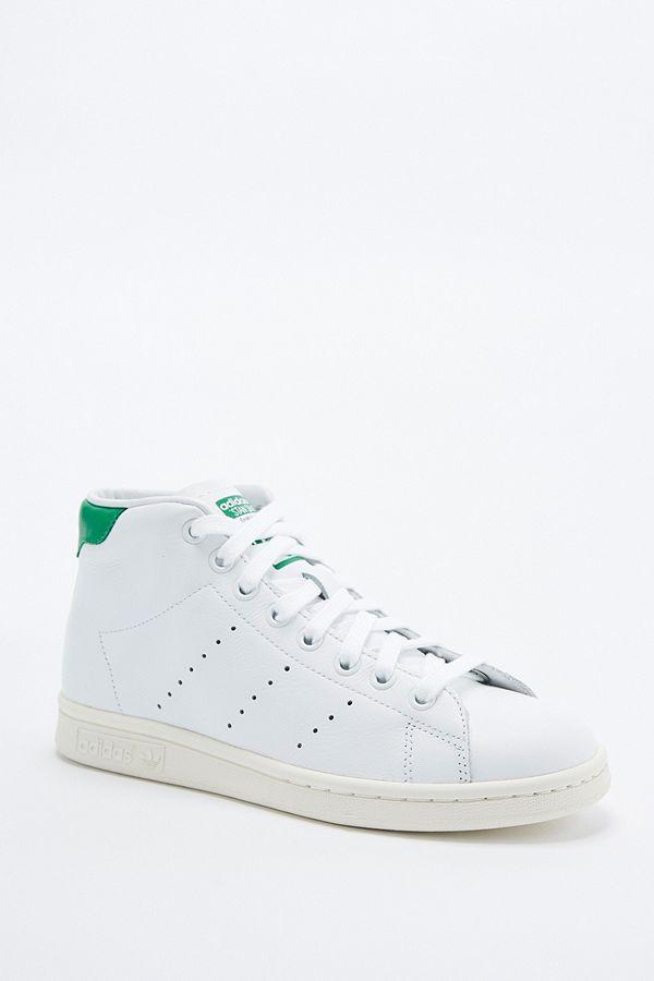 en soldes a4bd9 58709 adidas Originals Stan Smith White and Green High-Top ...