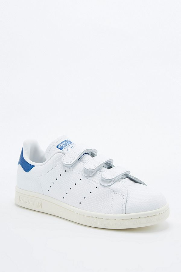 best sneakers 49753 75827 adidas Originals Stan Smith White & Blue Velcro Trainers ...
